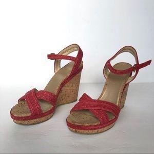 Stuart Weitzman Red Woven Cork Wedge Sandals 9.5 M